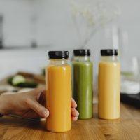 Detox cold-pressed juice in bottles